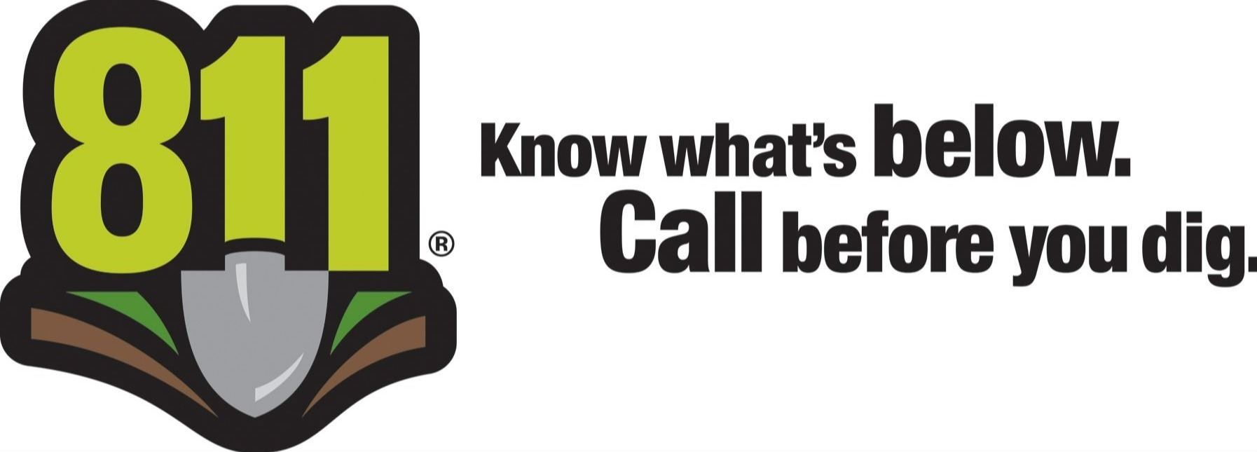 811 Logo Shovel with Know what's below. Call before you Dig.